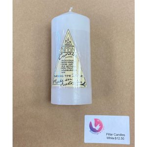 White pillar candles for altars and meditation.